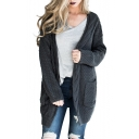 Cable Knit Collarless Plain Long Sleeve Tunic Cardigan