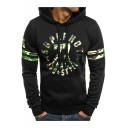 Camouflage Letter 77 Printed Contrast Striped Long Sleeve Hoodie