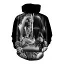 3D Girl Skull Printed Long Sleeve Oversize Hoodie