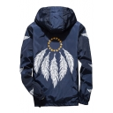 Feather Pentagram Printed Long Sleeve Zip Up Hooded Coat