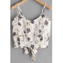 Floral Printed Tied Back Spaghetti Straps Sleeveless Crop Cami