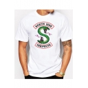 SOUTH SIDE Letter Snake Printed Round Neck Short Sleeve Tee