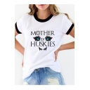 MOTHER OF HUSKIES Letter Animal Printed Contrast Trim Round Neck Short Sleeve Tee