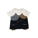Color Block Cat Printed Round Neck Short Sleeve Buttons Embellished Tee
