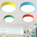 Minimalist Acrylic Flush Light with Drum Shade LED Ceiling Fixture for Nursing Room Corridor