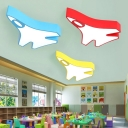 Cartoon Decorative Lovely Airplane Flush Ceiling Light for Early Education Center Kindergarten Classroom (Red/Yellow/Blue/Green)