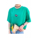 Dinosaur Letter Embroidered Round Neck Short Sleeve Loose Tee