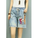 Cat Embroidered Drawstring Waist Straight Denim Shorts