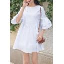 Round Neck Half Sleeve Plain Mini A-Line Dress