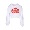 ONE MORE TIME Heart Printed Long Sleeve Crop Hoodie