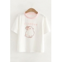 Contrast Round Neck Japanese Rabbit Printed Round Neck Short Sleeve Tee
