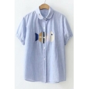 Fish Bone Embroidered Lapel Collar Buttons Down Short Sleeve Shirt