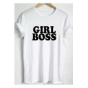 GIRL BOSS Letter Printed Round Neck Short Sleeve Tee