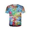 3D Colorful Brick Printed Round Neck Short Sleeve Tee