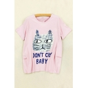 DON'T CRY BABY Letter Cat Printed Round Neck Short Sleeve Tee