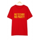 NO TECHNO Letter Printed Round Neck Short Sleeve Tee