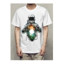 Galaxy Astronaut Printed Round Neck Short Sleeve Tee