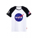 NASA Starry Pattern Color Block Short Sleeve Round Neck Tee