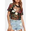 Floral Embroidered Sheer Mesh Short Sleeve Crop Tee