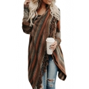 Trendy Striped Printed Long Sleeve Tassel Embellished Cardigan