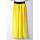 Elastic Waist Plain Loose Maxi Chiffon A-Line Skirt