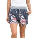 Drawstring Waist Leisure Floral Printed Comfort Shorts