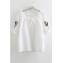 Cute Floral Embroidered Round Neck Short Sleeve Blouse