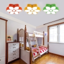 Kindergarten Flower Shape Flushmount Modernism Metal LED Flush Ceiling Light in Green/Yellow/Red