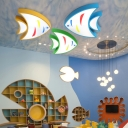 Lovely Acrylic Ceiling Light with Fish Blue/Green/Yellow LED Flush Light Fixture for Living Room
