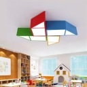 Cute Geometric LED Flush Mount Modern Colorful Kindergarten Kids Room Acrylic Ceiling Light