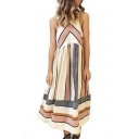 Chic Color Block Striped Printed Sleeveless Maxi A-Line Dress