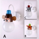 Monkey/Giraffe/Zebra Sconce Light Hallway Kids Room Plastic Single Head Wall Lighting in Multi Color
