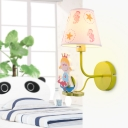 Lime Finish Cartoon Wall Sconce Fabric Shade 1 Bulb Wall Mount Light for Boys Girls Bedroom