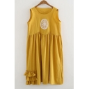 Rabbit Embroidered Applique Round Neck Sleeveless Midi Asymmetric Hem Dress