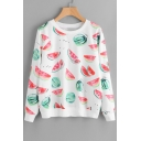 Watermelon Printed Round Neck Long Sleeve Tee