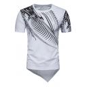 Stylish Fashion Printed Round Neck Short Sleeve Asymmetric Hem Tee