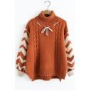 Turtleneck Color Block Long Sleeve Bow Embellished Sweater