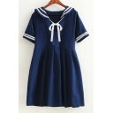 Navy Collar Contrast Striped Bow Embellished Short Sleeve Mini A-Line Dress