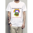 Letter Frog Rainbow Printed Round Neck Short Sleeve Tee