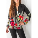 Floral Printed Zip Up Long Sleeve Stand Up Collar Baseball Jacket
