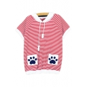 Color Block Striped Printed Paw Embroidered Pocket Short Sleeve Tee