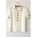 Lapel Collar Short Sleeve Cat Embroidered Blouse