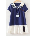Cat's Paw Embroidered Navy Collar Short Sleeve Patchwork Mini A-Line Dress