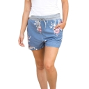 Drawstring Waist Loose Floral Printed Leisure Shorts