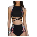 Crisscross Floral Printed Sleeveless with High Waist Bottom Bikini