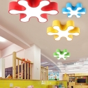 Snow Shape 1 Head Flush Mount Modern Blue/Green/Yellow/Red Acrylic LED Ceiling Light for Kids Children
