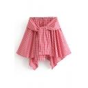Plaid Printed Tied Front Elastic Waist Mini Asymmetric Hem Skirt