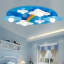 Remote Control 6 Lights Rainbow Flushmount Modernism Nursing Room Kindergarten Metal Ceiling Light in Blue