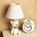 1 Light Coolie Table Lamp with Bear Decoration Boys Girls Bedroom White Fabric Shade Table Light