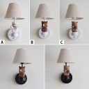 Adorable Tapered Wall Mount Fixture With Cat Kids Bedside Fabric Shade 1 Light Wall Light in Black/White